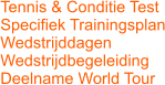 Tennis & Conditie Test Specifiek Trainingsplan Wedstrijddagen Wedstrijdbegeleiding Deelname World Tour